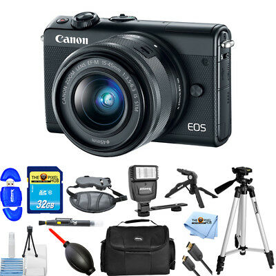 Canon EOS M100 Mirrorless Digital Camera with 15-45mm Lens (Black) STARTER KIT