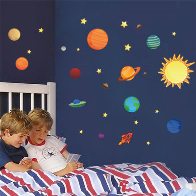 Solar System Wall Stickers Space Sky Wallpaper 3D Decals Planets Mural  For Kids