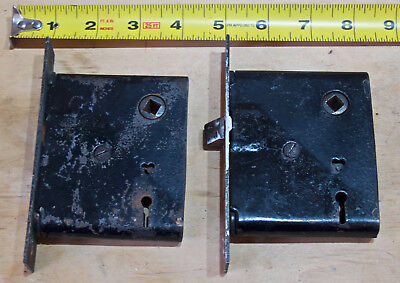 Lot of 2 VINTAGE   BRASS ? MORTISE LOCK privacy bed bath antique ? locks
