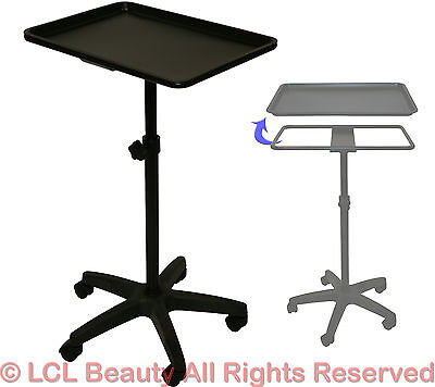 LCL Beauty Extra Large Black Steel Single-Post Mayo Instrument Stand & Work Tray