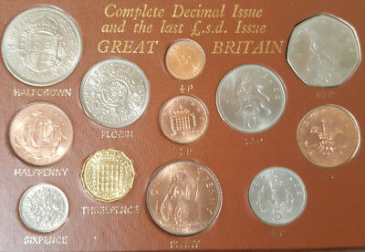 1969 Complete Decimal Issue and the Last £.s.d  Issue of Great Britain- 12 Coins