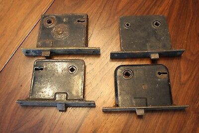 Vintage Asst Antique Mortise Door Locks Lot of 4 NO KEYS all parts move freely
