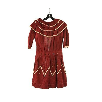 Vintage 20s Burgundy Cotton Drop Waist Bell + Button Gypsy Edwardian Dress