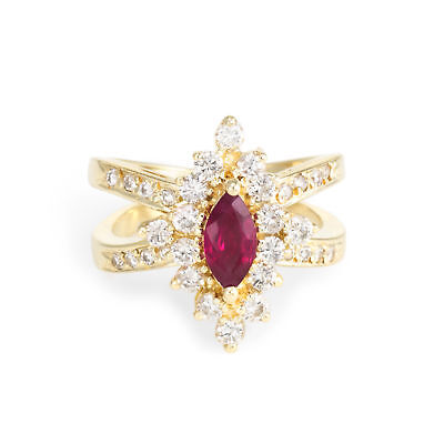 Natural Ruby Diamond Cocktail Ring Vintage 14k Yellow Gold Estate Fine Jewelry