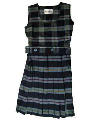 Girls School Uniform Scoop Neck Pleated Jumper Plaid Blue Red Plaid #25