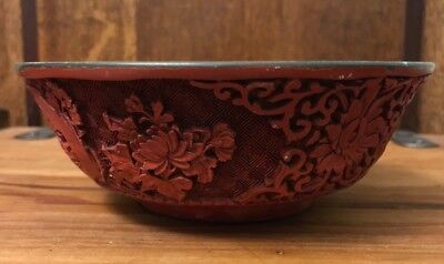 Antique Vintage Oriental Chinese Red Lacquer Bowl Blue Interior
