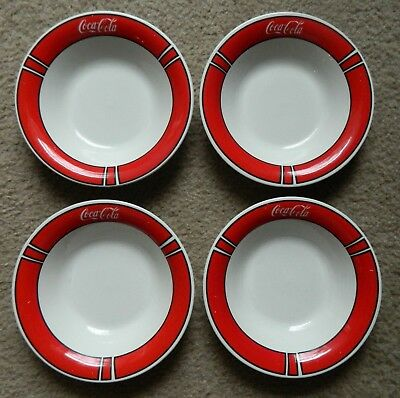 "4 Coca Cola Gibson Red And White 8"" Soup Or Cereal Bowls"