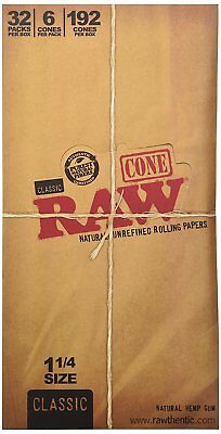 Classic RAW Rolling Paper Cones (1 1/4) BRAND NEW 32 packs of 6 each *FAST SHIP*