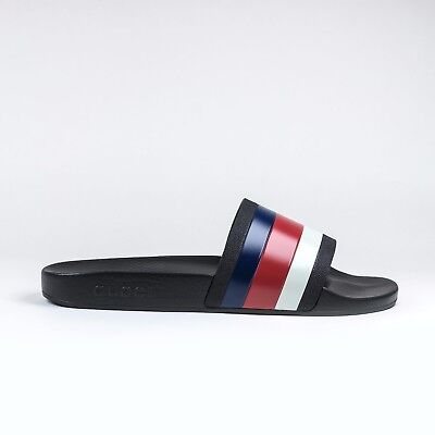 c8bf6931a186d 100% AUTHENTIC MENS Gucci Pursuit Black Pool Slides Sandals Blue ...