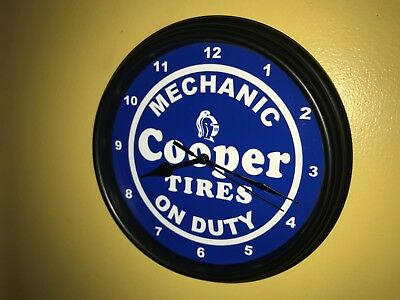 Cooper Tires Gas Service Station Mechanic Garage Man Cave Wall Clock Sign