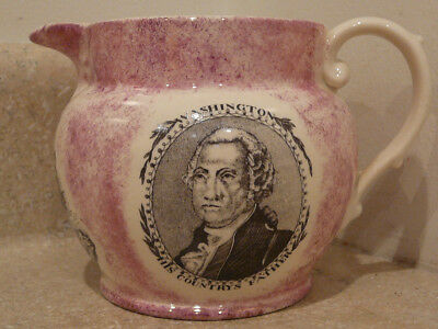 Old Pink Luster Porcelain China Pitcher G Washington Republicans Shipwright Arms