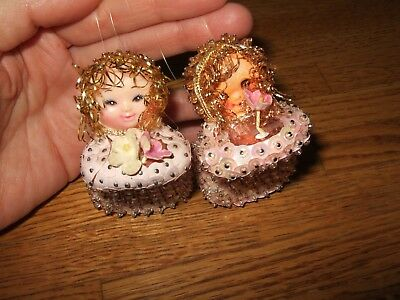 lot 2 vintage SEQUIN ANGEL PINK ORNAMENTS Handmade plastic faces tinsel no wings