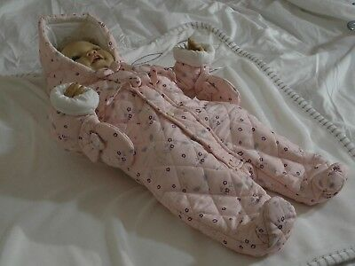 Baby Girls Padded Spanish Style Snowsuit Pink Chloe Louise Pink 0- 12 Months