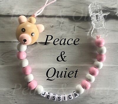 Personalised Dummy Clip💗Wooden💗Best Seller💗Dummy Chain💗Pink💗white💗ted #PWP