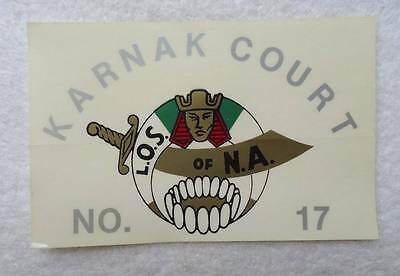 Vintage Decal Karnak Court No 17 L O S Of N A Masonic Shriners #k9