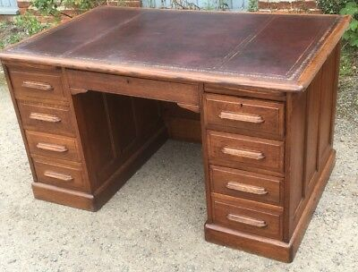 Fine Oak Arts & Crafts Leather Office Writing Desk  2 Man Delivery Available
