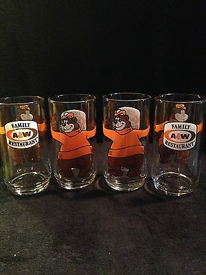 """SET 4 A&W Family Restaurant A&W Root Beer Drinking Glasses Hugging Bear 5.5"""" in"""