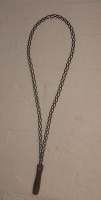 "Antique Vintage-Twisted Wire Rug Beater-Wood Handle- 29""l"