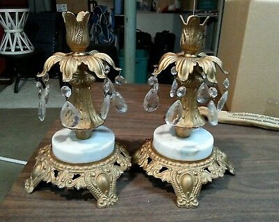 Pair Of Vintage Bronze Candle Holders With Crystal Tear Drops Marble Bases