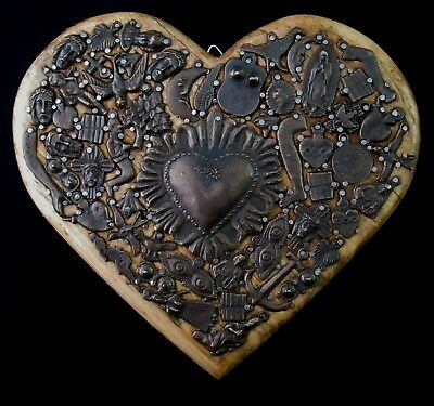 Carved Wood Milagros Heart Antiqued Dark Milagro Charms Corazon Mexican Folk Art