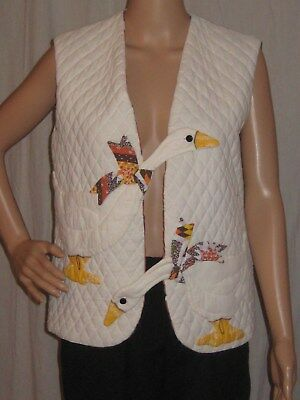 Vintage Quilted Vest Jacket Hand Made Geese Arts & Crafts Folk Art Unique Small