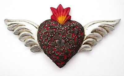 Mexican Folk Art Milagros Sacred Heart with Wings Valentine Gift Red Dark Charms