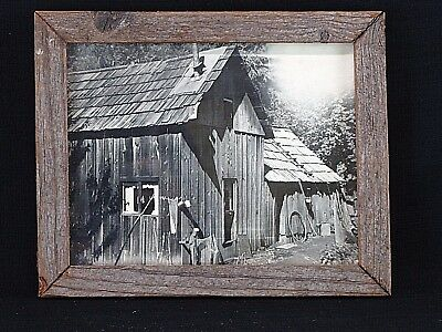 Antique Rustic Reclaimed Weathered Cabin Wood Framed Photo of Old Cabin