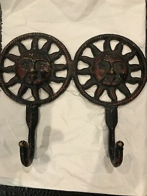 Cast Iron Sun Faces Rustic Red Hat Towel Bath Garden Shed Wall Hook Home Decor
