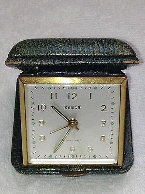 SEMCA Travel Alarm Clock Teal Clamshell Germany Works Great  Vintage