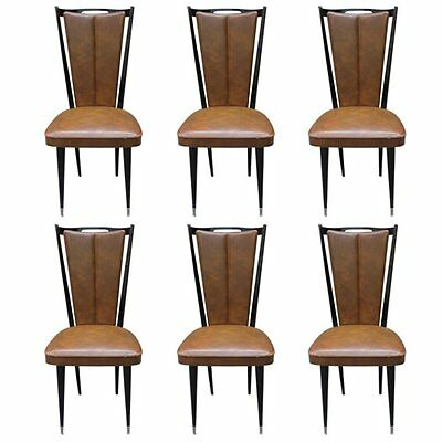 Set of Six  French Art Deco Dining Chairs, Dark Mahogany Circa 1950s  AS IS