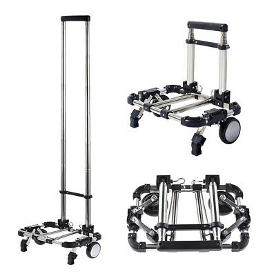 Foldable Aluminium Luggage Cart Alloy Hand Shopping Truck Trolley with Pull Rod