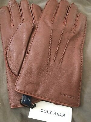 COLE HAAN Soft DEERSKIN Hand Sewn MENS GLOVES NWT Size L  Brown Wool Cashmere