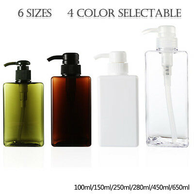 100/150/250/280/450/650ml Square Shaped Pump Refillable Bottle Shampoo Container