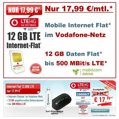 mobile Internet Flat LTE Vertrag Daten Flat 12GB LTE Tablet Flat Laptop Notebook
