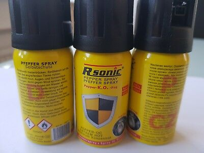 3x RSonic Pfefferspray Anti Dog Tierabwehrspray Fog a 40 ml
