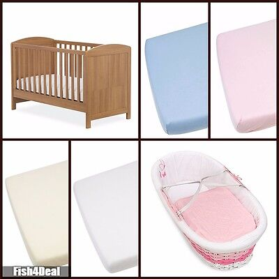 100% Cotton Soft Jersey Fitted Sheets |Moses Basket-Junior Bed - Cot - Cot Bed|