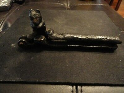 Vintage Black Cast Iron Heavy Metal Cast Figural Squirrel Nutcracker Old Decor