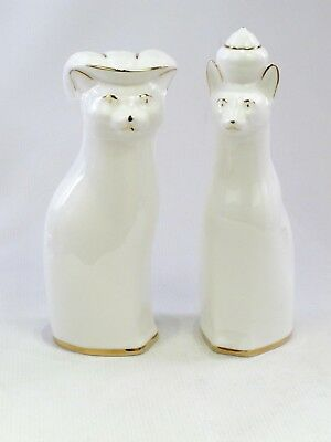 Pair of Royal Vale Ceramic Cat Figures Ornament Approx 20cm Tall White and Gold