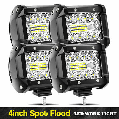 4X 4inch 18W CREE LED Work Light Pod Reverse Flood Offroad Lamp ATV Truck 12V24V