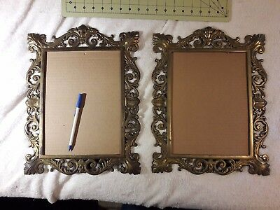 """**MATCHED PAIR!** ANTIQUE 12"""" ORNATE CAST BRASS 13""""x16"""" PHOTO FRAMES -stand/hang"""