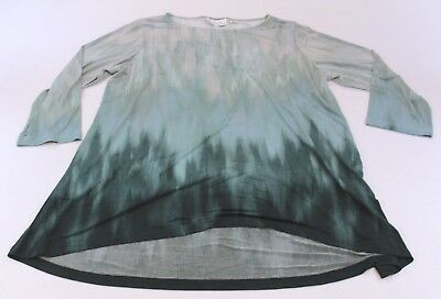 Linea by Louis Dell'Olio Women's Printed 3/4 Sleeve Hi-Lo Hem Tunic BF5 Large