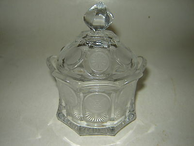 Fostoria Elegant Clear Glass COIN Pattern Covered Suger Bowl