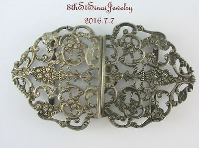 Victorian Art Nouveau Sterling Silver 925 Ornate Open Work 2 Piece Belt Buckle