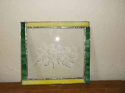 Vintage Leaded Stained Art Glass Sun Catcher Etched Flowers Panel Hand Crafted