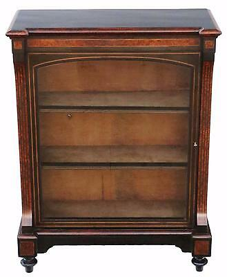 Antique fine quality amboyna and ebonised pier display cabinet C1880
