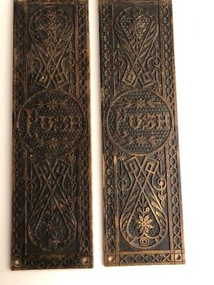 Antique Push Plates Cast Bronze Ornate They Say Push Mfg Norwalk C. 1880's