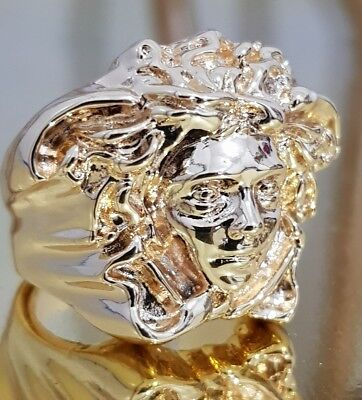 18k Versace Style Medusa Gold Men's Luxury Iced Out Ring