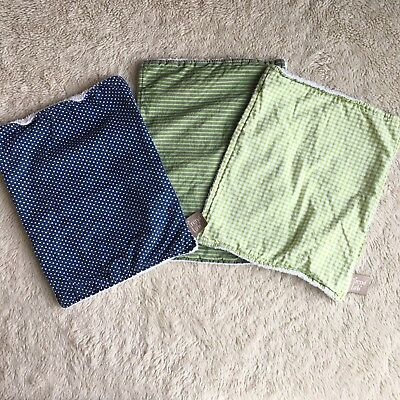 Trend Lab Cotton Burp Cloth Set Green Gray Blue, 3 Count Plaid Polka Dots Stripe