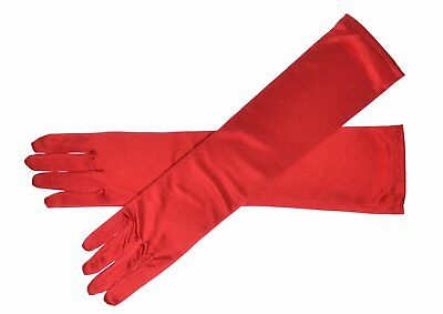 Red Long Gloves 1920 Fancy Dress Satin Party Prom Evening Stretch Ladies Opera