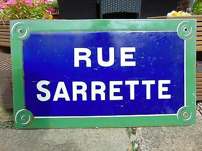 AUTHENTIC VINTAGE FRENCH METAL PARIS STREET SIGN 'RUE SARRETTE' 14th Arrondissem